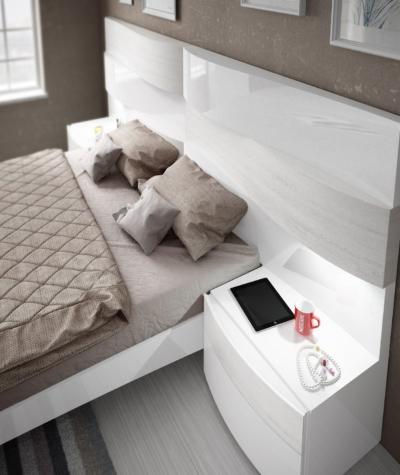 601 Dormitorio Roble decapé blanco y Blanco brillo - Detalle 01 ALTA